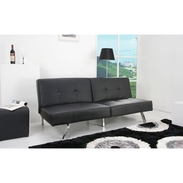Victorville Black Foldable Futon Sofa Bed