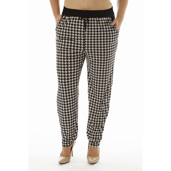 Golden Black Women's Plus Size Houndstooth Print Knitted Joggers Pants