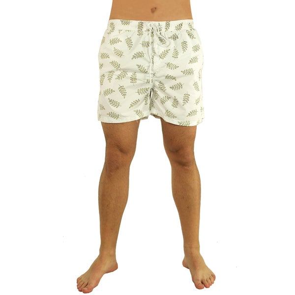 Men's Green and White Branch Print Swim Trunks