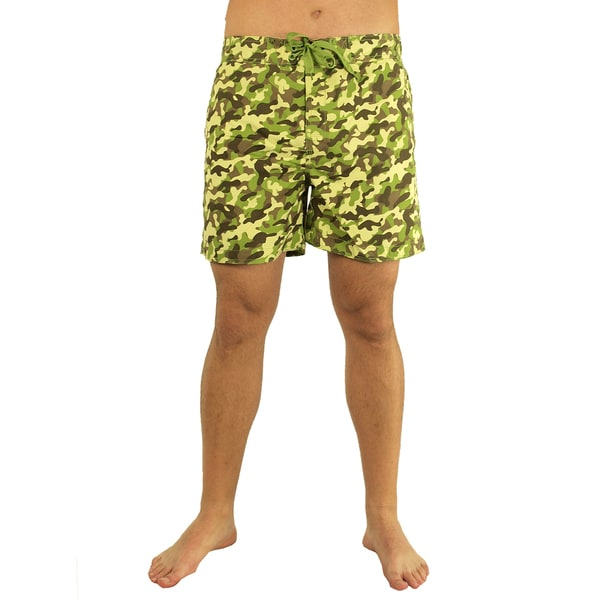 Men's Allover Camo Print Swim Trunks
