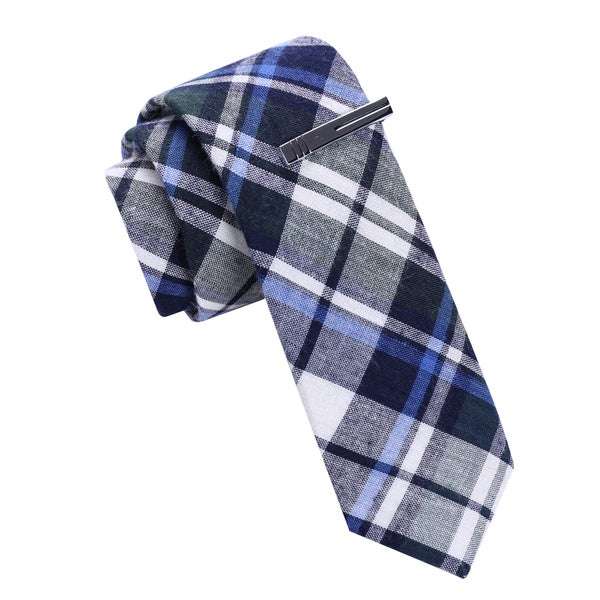 Skinny Tie Madness Blue Plaid Skinny Tie with Tie Clip