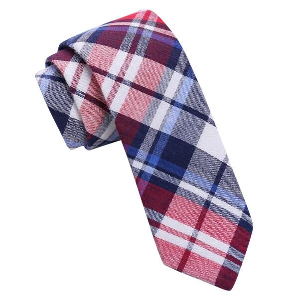 Skinny Tie Madness Red Plaid Skinny Tie