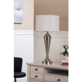 Table Lamps Brush Nickel / White Finish (Set of 2)