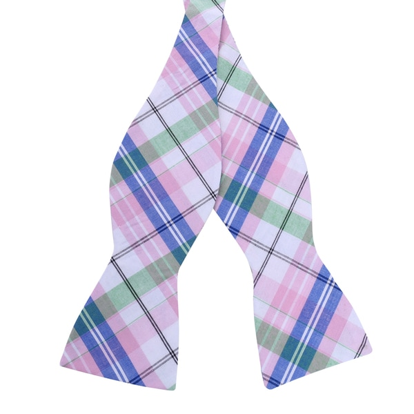 Skinny Tie Madness Men's Pink Plaid Bow Tie