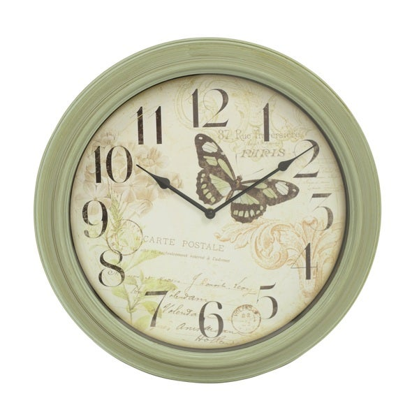 Green Antique Butterfly 18-inch Wall Clock