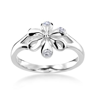 SummerRose 14k White Gold 1/10ct TDW Diamond Flower Ring (H-I, SI1-SI2)