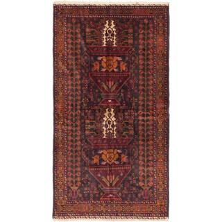 Ecarpetgallery Finest Rizbaft Black, Light Brown Wool Open Field Rug (3'9 x 7'0)