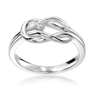 14k White Gold Diamond Accent Knot Ring
