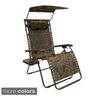 Extra Wide Gravity Lounge Chair with Sunshade and Side Table