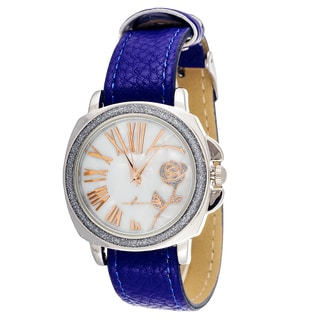 FORTUNE NYC CZ Zirconia Women's Silver Case and Plate / Blue Leather Strap Watch