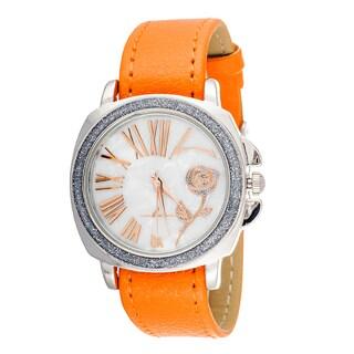 FORTUNE NYC CZ Zirconia Women's Silver Rose Flower / Orange Leather Strap Watch