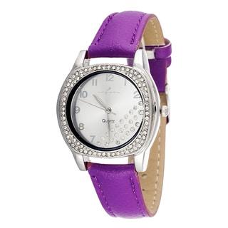 Via Nova Women's CZ Zirconia Silver Case and Plate / Purple Strap Watch