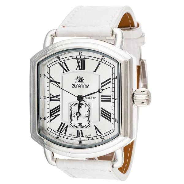 Zunammy Mens's Silver Case White Leather Strap Watch
