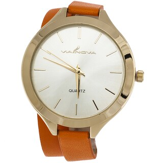 Via Nova Women's Gold Case with Wrap Orange Leather Strap Watch
