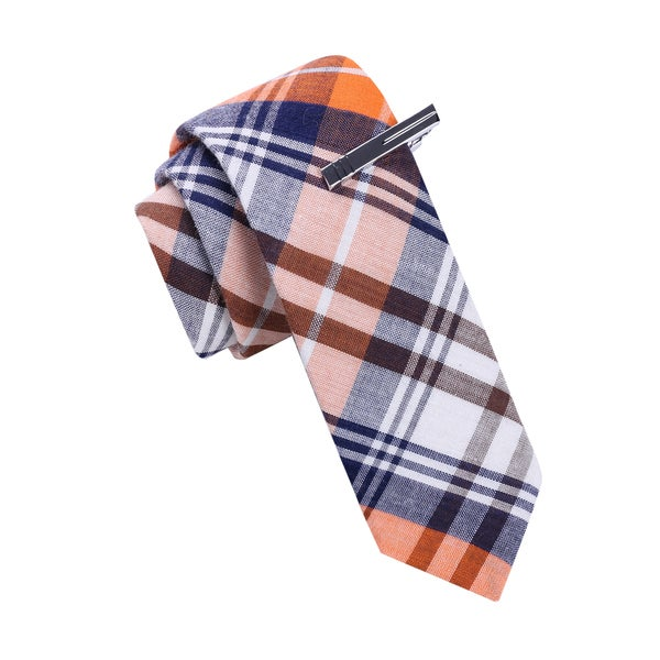 Skinny Tie Madness Men's Plaid Tie with Tie Bar