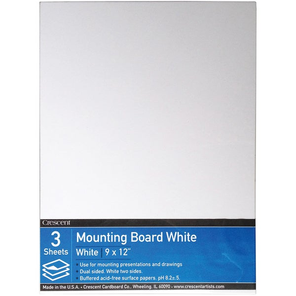 Crescent White Mounting Board Value Pack 3/Pkg9inX12in