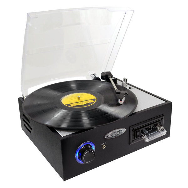 Pyle PTTC4U Turntable with Built-in Stereo Speakers/ MP3 Recording/ USB-to-PC/ Cassette Playback/ Battery (Refurbished)