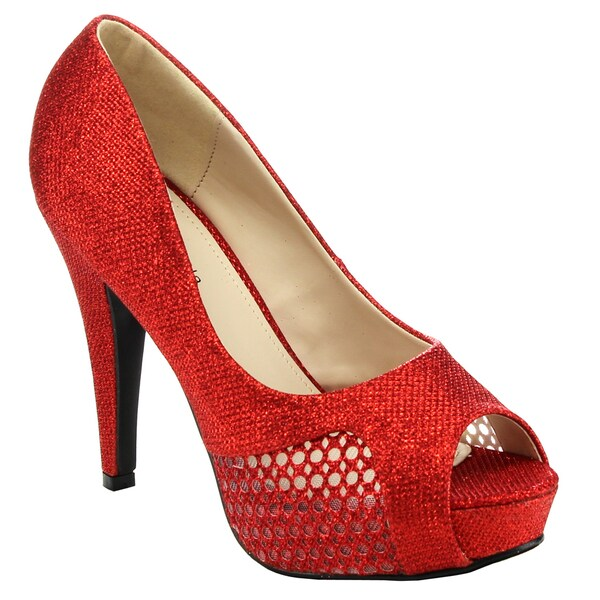 Top Moda HY-7 Women's Peep-Toe Stiletto Platform High Heels