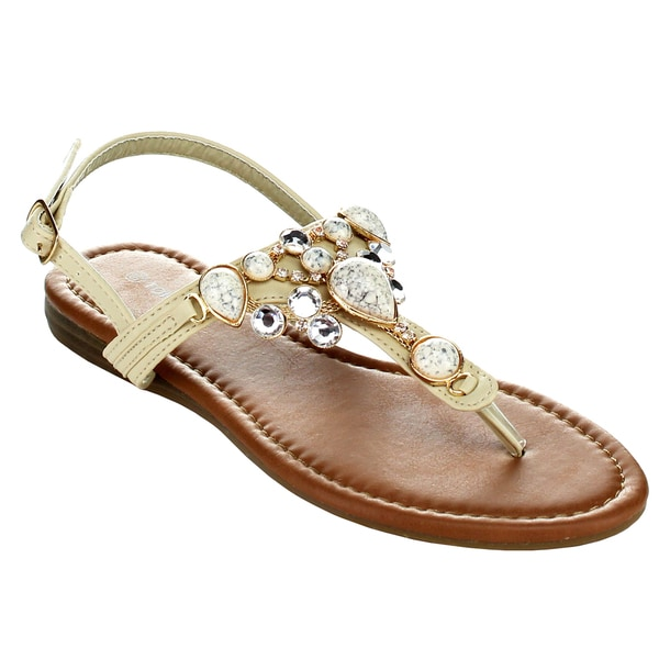 Top Moda CB-6 Women's T-Strap Slim Strap Gemstone Buckle Sandals