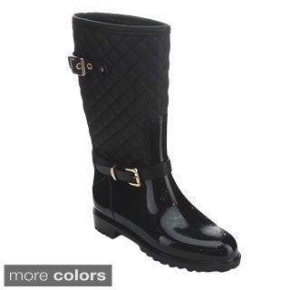Easos NNE-03 Women's Under Knee High Quilting Jelly Rain Boots
