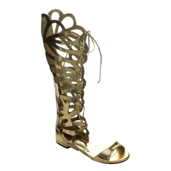 Breckelle's SOLO-15W Women's Knee High Gladiator Style Flat Sandals
