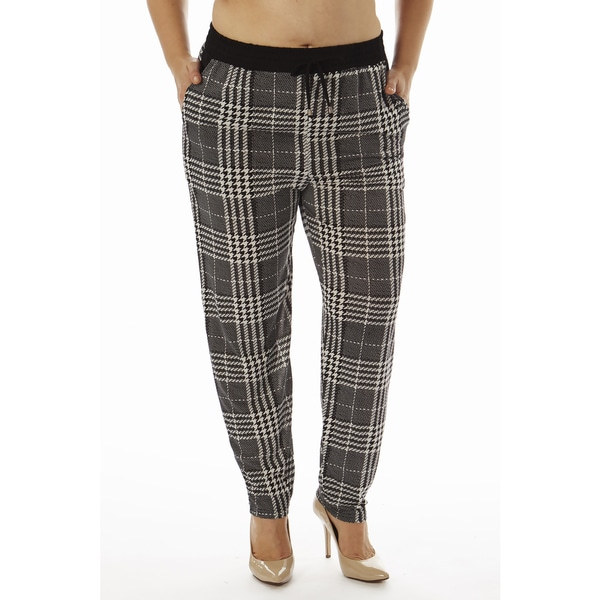 Golden Black Women's Plus Size PLaid Printed Knitted Joggers Pants 15356729