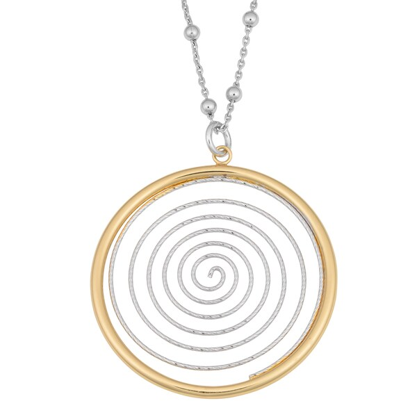 Argento Italia Rhodium-plated Sterling Silver Two-tone Diamond-cut Swirl Pendant Necklace