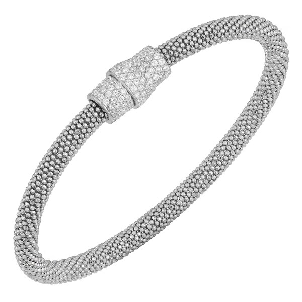 Argento Italia Rhodium-plated Sterling Silver 7.5-inch Cubic Zirconia Magnetic Lock Popcorn Bangle