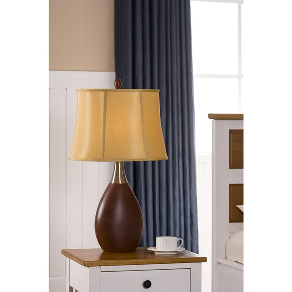 K & B L556 Walnut / Golden Finish Table Lamps (Set of 2)