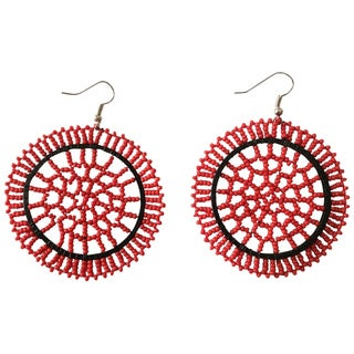 Zulu Round Red Beaded Earrings (South Africa)