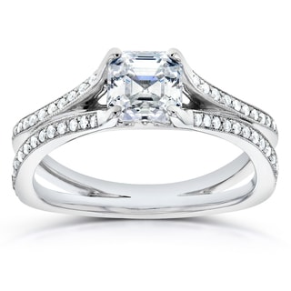 Annello 14k White Gold 1 1/4ct TDW Certified Asscher Diamond Engagement Ring (G, VS2)