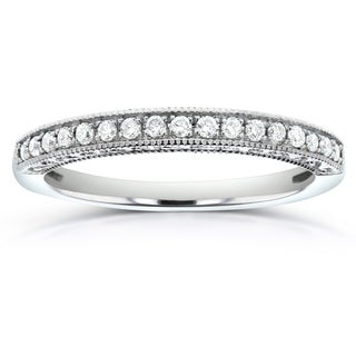 Annello 14k White Gold 1/8ct TDW Diamond Wedding Band (H-I, I1-I2)
