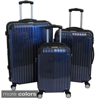 World Traveler 3-piece Hardside Lightweight Expandable Spinner Luggage Set (Black, Fuchsia, Silver, Blue)