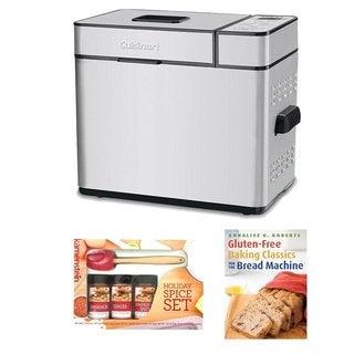 Cuisinart CBK-100 2-Pound Programmable Breadmaker w/ Kamenstein Mini Spatula Spice Set & Gluten-Free Baking Classics
