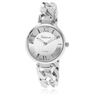 Geneva Platinum Women's Rhinestone Link Band Watch