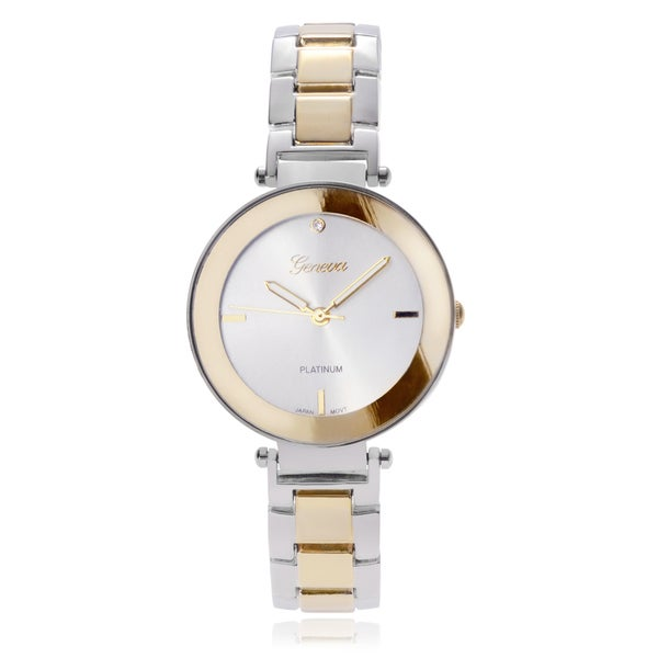 Geneva Platinum Two-Tone Metal Link Band Watch