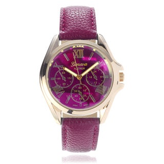 Geneva Platinum Women's Leather Strap Watch