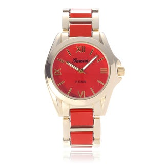 Geneva Platinum Women's Two-Tone Link Band Watch