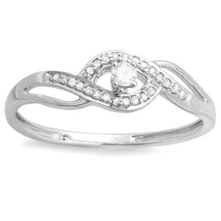 10k White Gold Diamond Bridal Promise Ring 0.15 Carat (ctw)