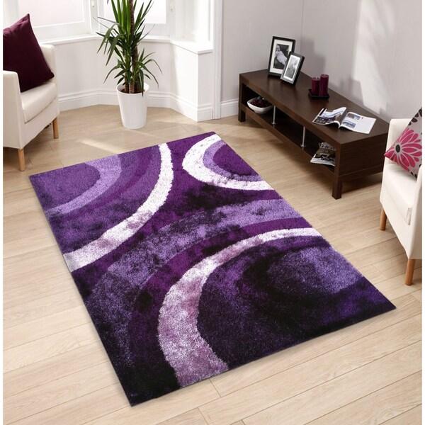 Hand Tufted Purple Shag Area Rug 5 X 7 17260779