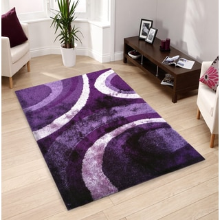 Hand-tufted Purple Shag Area Rug (5' x 7')