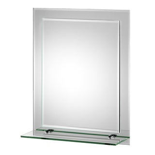 Rydal Beveled Edge Double Layer Wall Mirror with Shelf and Hang 'N' Lock