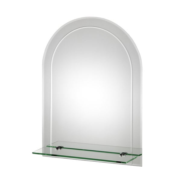Fairfield Beveled Edge Arch Wall Mirror with Shelf and Hang 'N' Lock