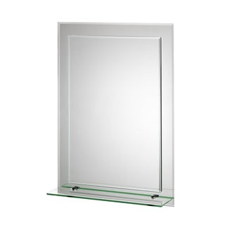 Devoke Beveled Edge Double Layer Wall Mirror with Shelf and Hang 'N' Lock