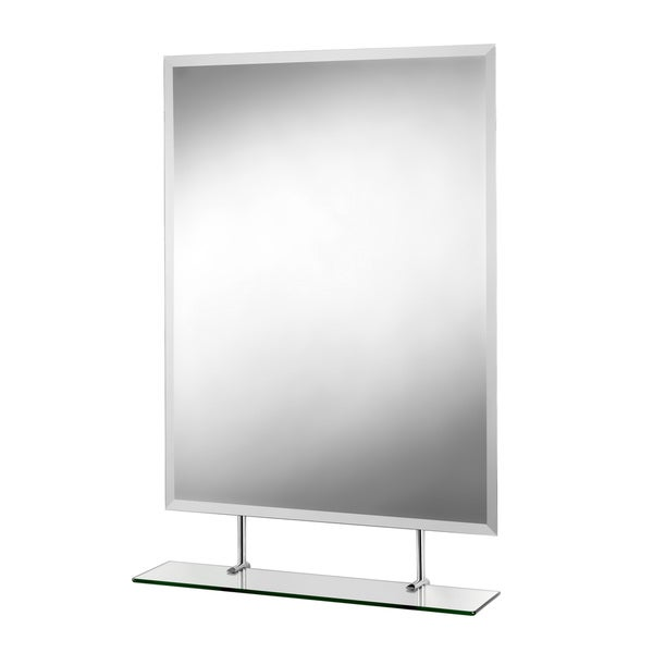 Helton Beveled Edge Wall Mirror with Under Mirror Shelf and Hang 'N' Lock