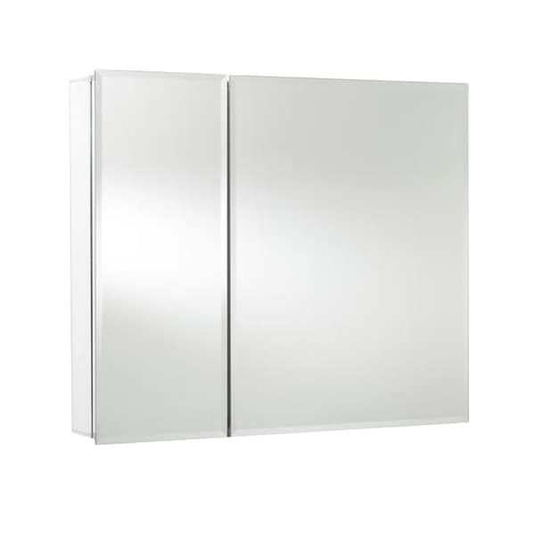 Bi-View Recessed or Surface Mount Medicine Cabinet in Aluminum with Hang 'N' Lock