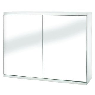 Simplicity 23.7-inch Double Door Mirrored Cabinet in White