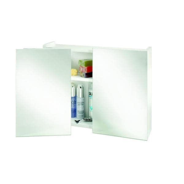 Swivel Double Door Medicine Cabinet Surface Mount Only in White with Swivel Mirrors