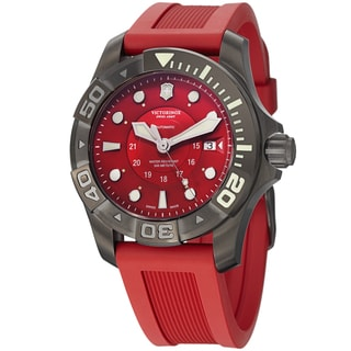 Swiss Army Men's V241577 'Dive Master' Red Dial Red Rubber Strap Swiss Automatic Watch