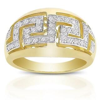 Finesque Sterling Silver 1/4ct TDW Diamond Greek Key Design Ring (I-J, I2-I3)